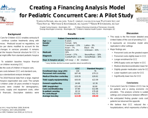 Creating a financing analysis model for pediatric concurrent care: A pilot study - Poster Image