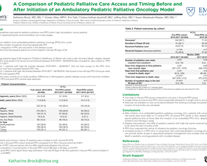 A Comparison of Pediatric Palliative Care Access and Timing Before and After Initiation of an Ambulatory Pediatric Palliative Oncology Model - Poster Image