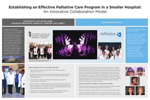 Establishing An Effective Palliative Care Program In A Smaller Hospital An Innovative Collaboration Model Center To Advance Palliative Care