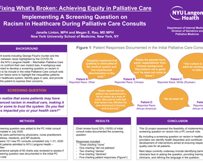 Implementing a Screening Question on Racism in Healthcare During Palliative Care Consults - Poster Image