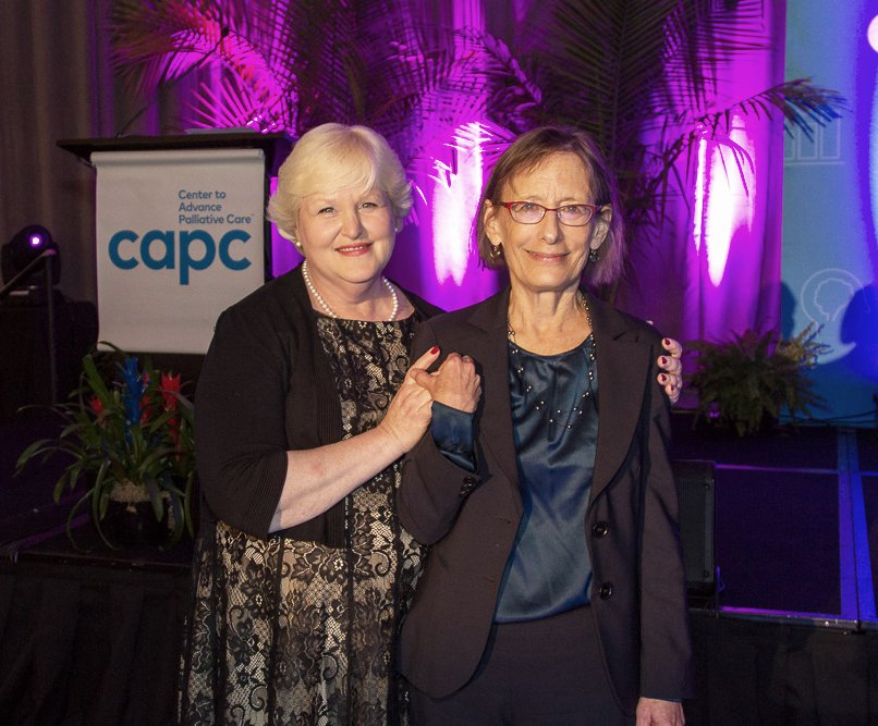 Amy Berman, RN, and Diane E. Meier, MD, after announcing the Tipping Point Challenge front-runners at CAPC National Seminar 2019.