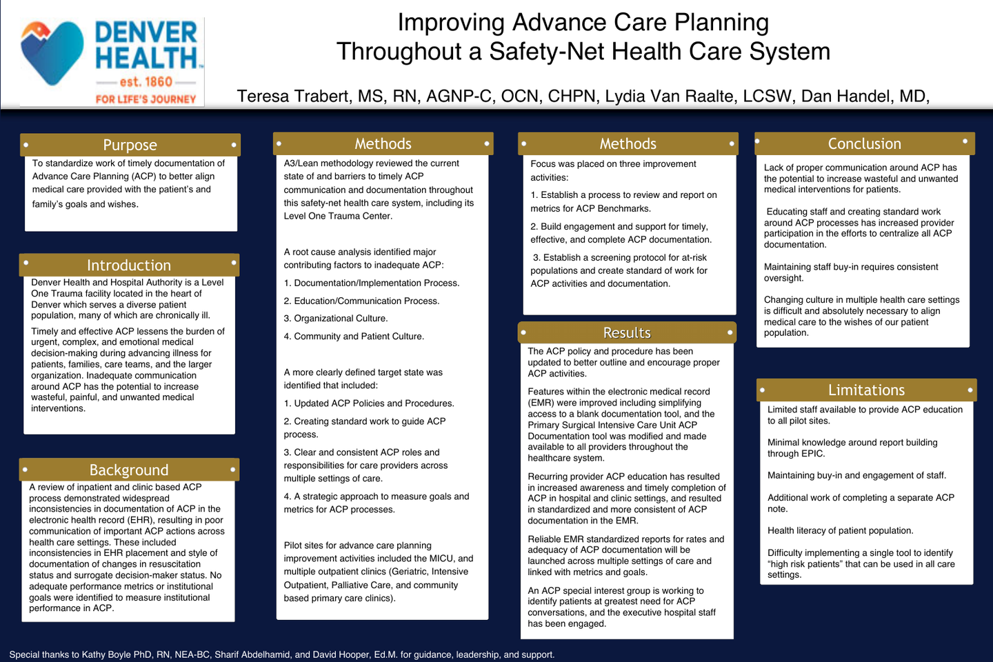 Improving Advance Care Planning Throughout a Safety-Net