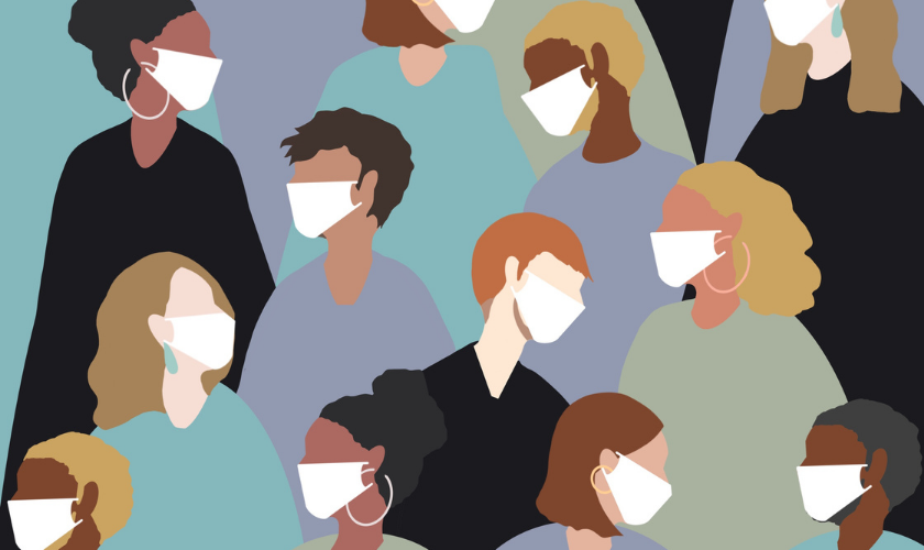 Graphic cartoon image of diverse group of people wearing masks and interacting