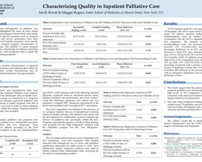 Characterizing Quality in Inpatient Palliative Care - Poster Image