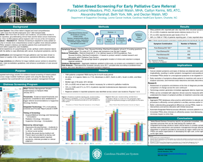 Tablet Based Screening For Early Palliative Care Referral - Poster Image