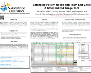 Balancing Patient Needs and Team Self-Care: A Standardized Triage Tool - Poster Image