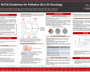 Use of NCCN Guidelines for Palliative Quality Improvement in Gastro Intestinal Oncology - Poster Image