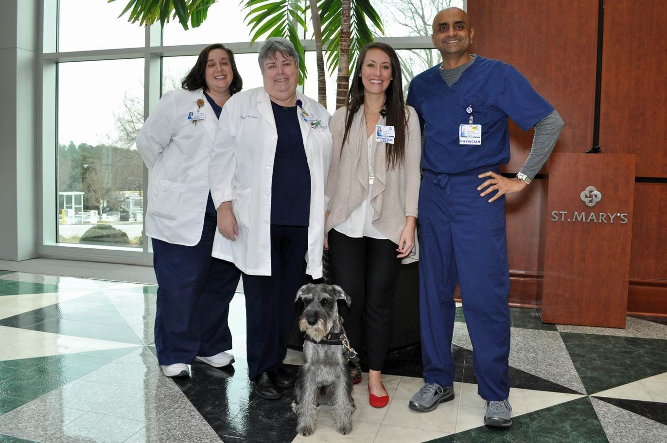 St. Mary's Palliative Care Team with Ollie the Palliative Care Therapy Dog (Trinity Health)