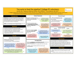 Too early to feed the pipeline? College Palliative Care volunteers - Poster Image