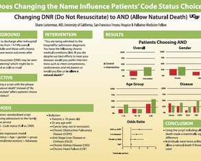 Does Changing the Name, Influence Patients' Code Status choice? Changing DNR (Do Not Resuscitate) to AND (Allow Natural Death) - Poster Image