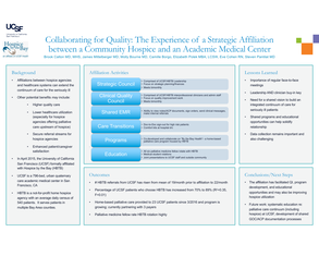 Collaborating for Quality: The Experience of a Strategic Affiliation between a Community Hospice and an Academic Medical Center - Poster Image